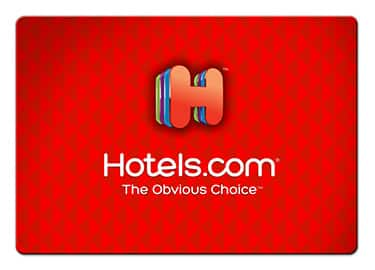 Free $10 Hotels.com gift card with purchase $50+