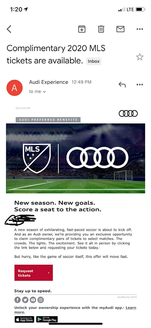 Free MLS Soccer game tickets for Audi owners