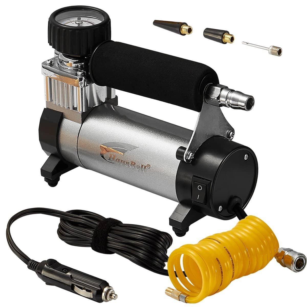 Portable Air Compressor, Hausbell Air Compressor Kit Mini DC12V Multi-Use Oil-Free Air Tools Tire Inflator for $22.49