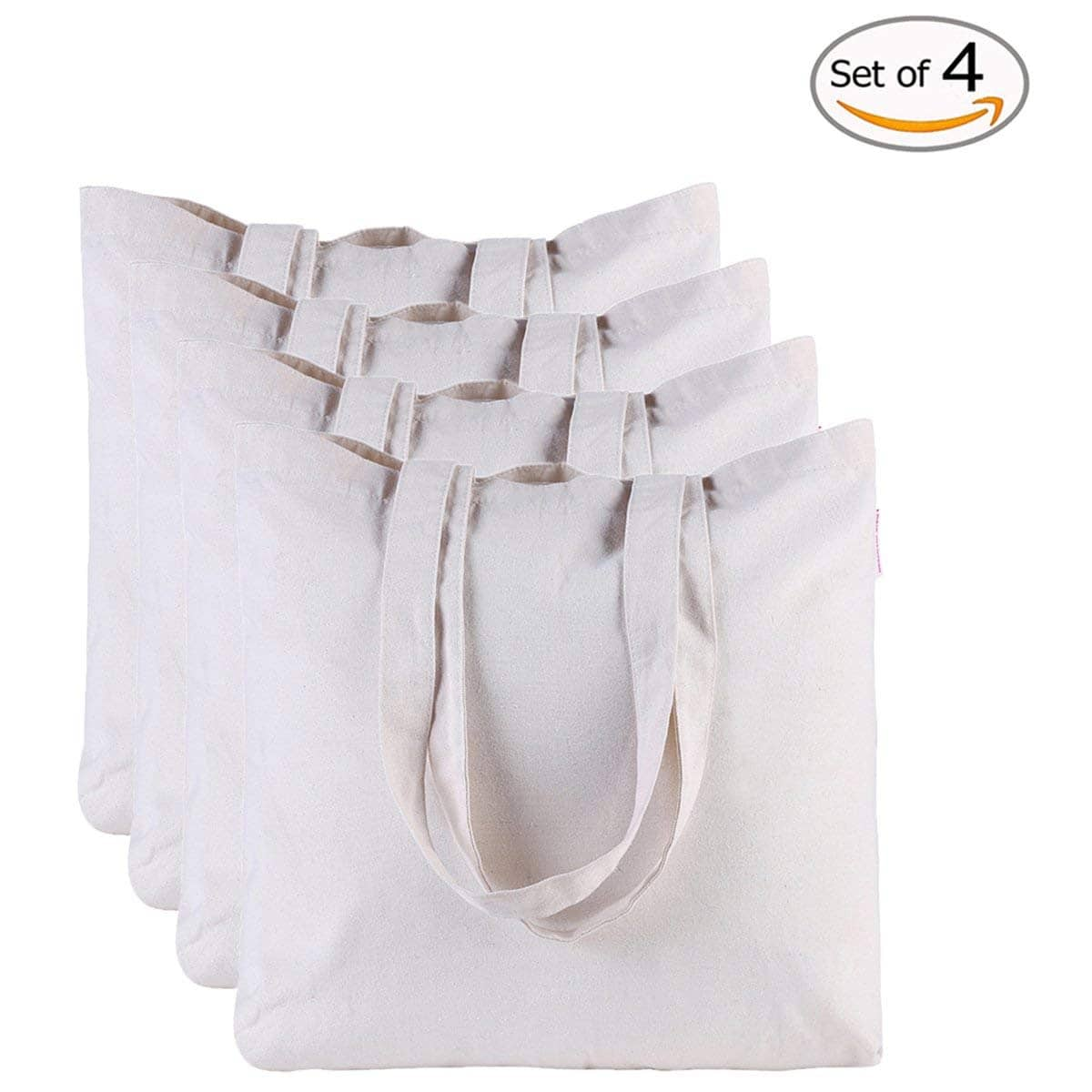 Canvas Bag by Dimayar 4pcs Washable Canvas Shopping Bag Resuable Grocery Bags Cloth Shopping White Bags Canvas Tote Bag Perfect for Crafting Decorating for $6.8