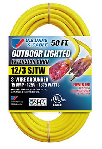 2x 50ft (total of 100ft) 12/3 Extension Cord - US Wire - Made in USA - Costco - $35.99
