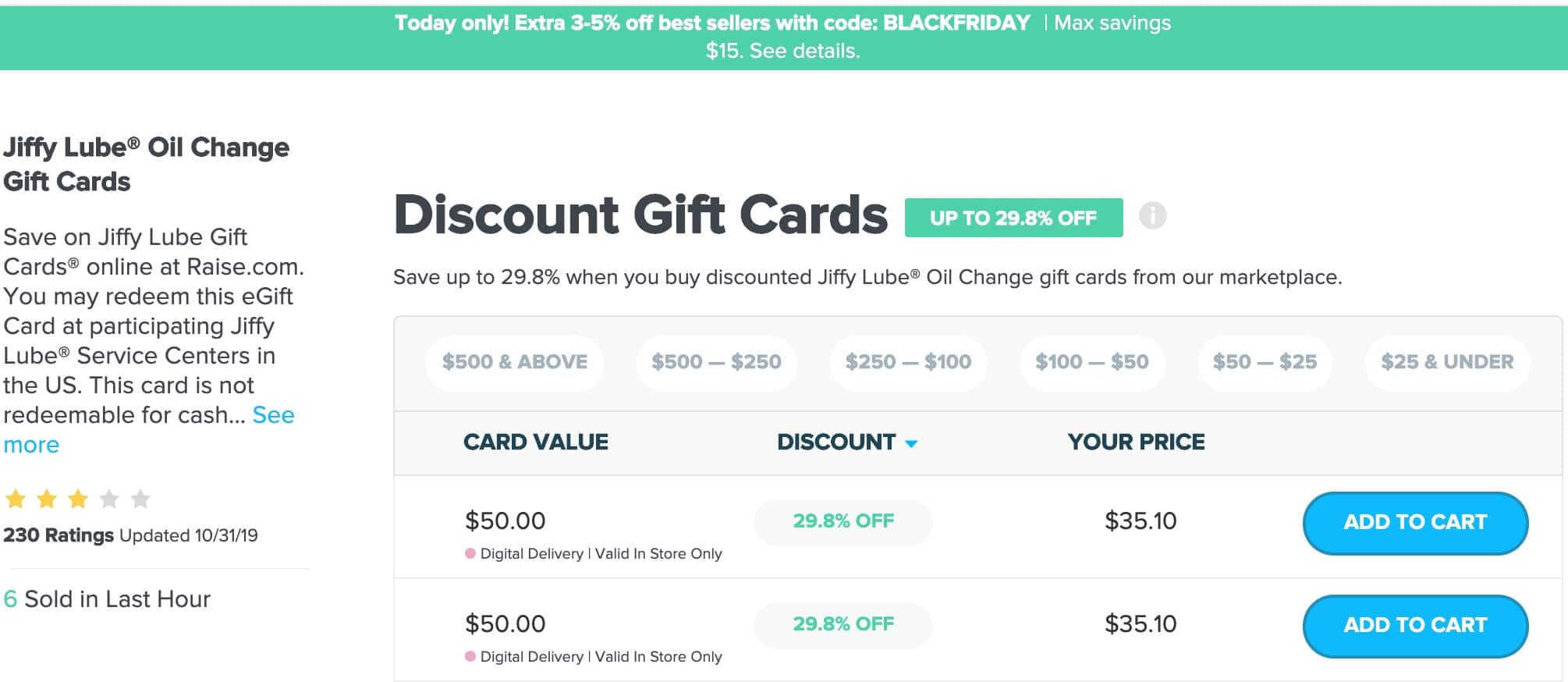 Raise.com : 30% Off Jiffy Lube Gift Cards + 5% off with code BLACKFRIDAY $33.5