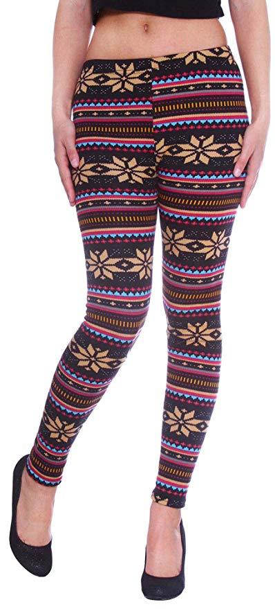f8d75f28652934 Simplicity Women's Nordic Snowflake Reindeer Knitted Fleece Lined Leggings  $6.99