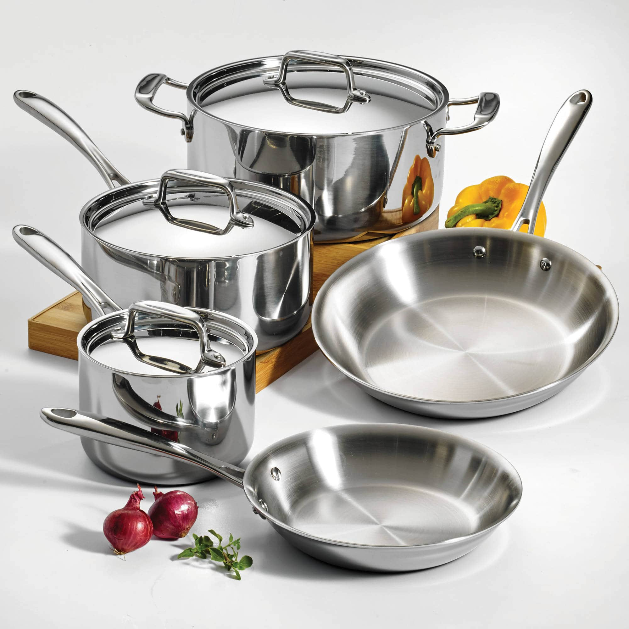 8-Piece Tramontina 18/10 Stainless Steel Tri-Ply Full Clad Cookware Set $109.97