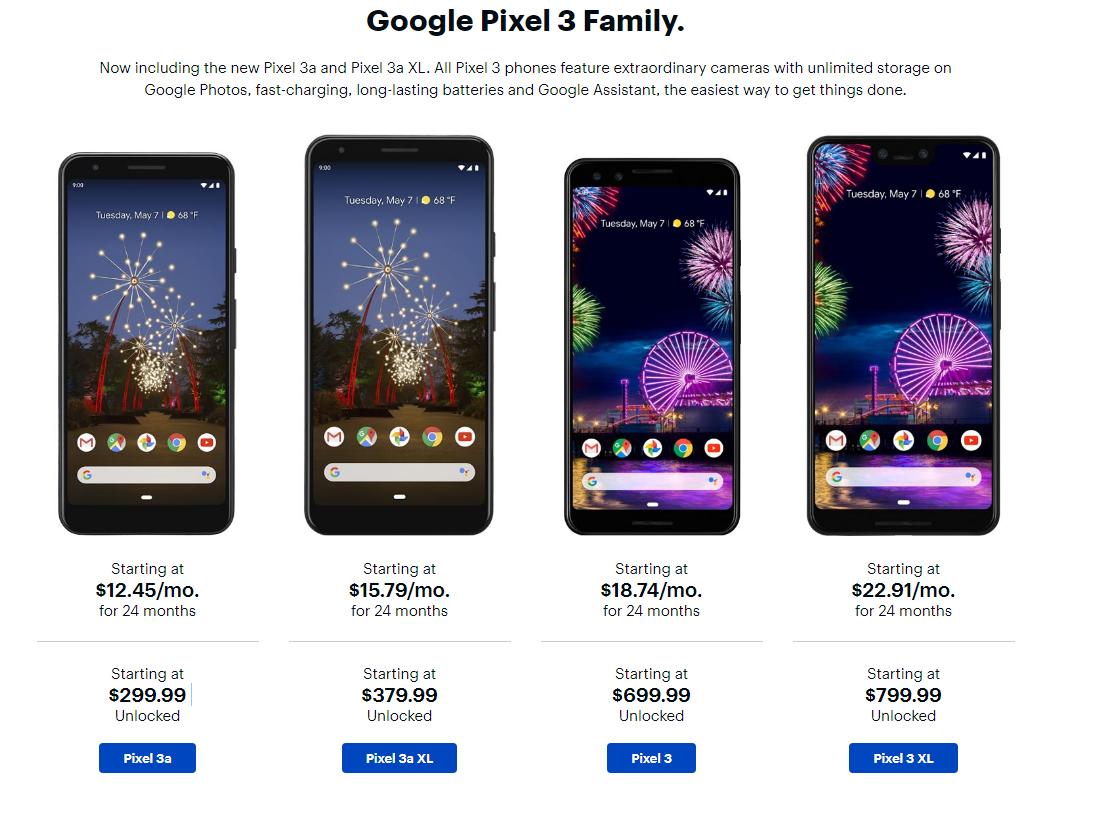 Unlocked Google Pixel 3a $299 3a XL 379 99/100$ Gift Card