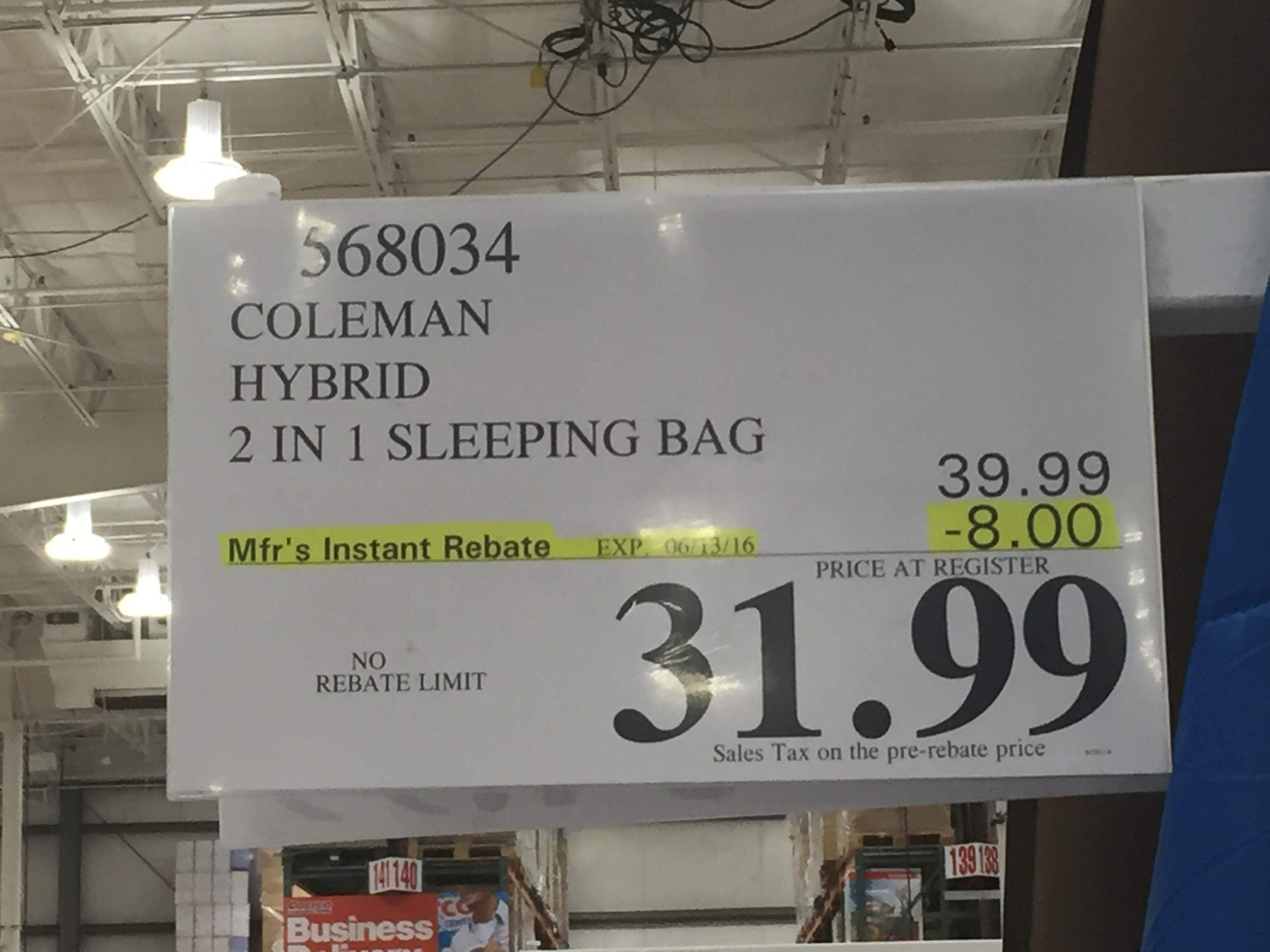 Costco @ Coleman hybrid 2 in 1 sleeping bag for $32