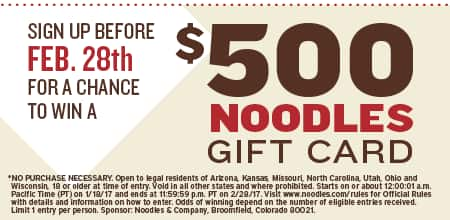 Free Appetizer when you sign up at @ Noodles  & Company