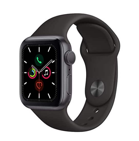 Apple Watch Series 5 (GPS, 40mm) - Space Gray Aluminum Case with Black Sport Band for $384.99  @ Amazon
