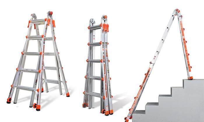 Little Giant AO-17 model 17ft 250lb max Multi-Use Aluminum Ladder w/ Wall Rack for $149.99