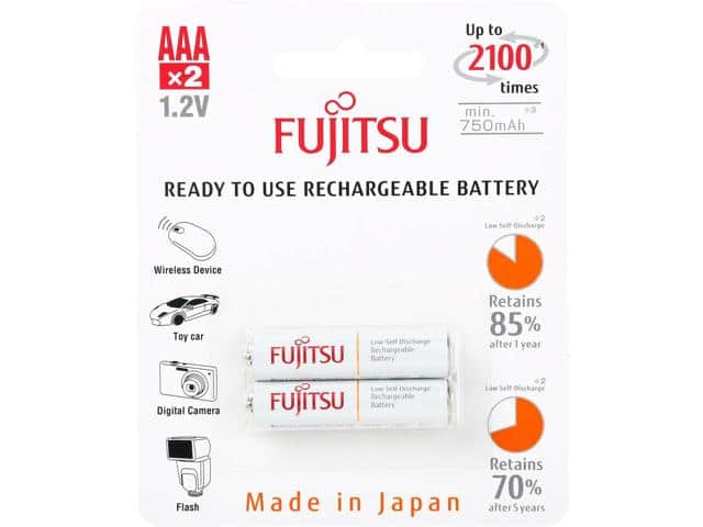 Fujitsu AAA LSD NiMH rechargeable battery 2pack $1.99, 2016-11-03 ONLY, free ship @NewEgg.com