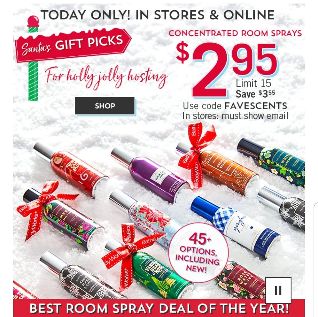 Bath & Body Works: $3 room sprays, BOGO 3-wick candles, B3G3 select body care