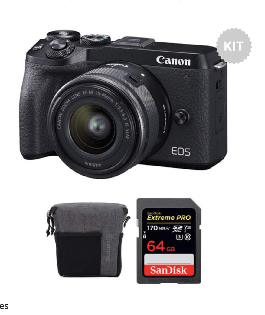 Canon EOS M6 Mark II Mirrorless Digital Camera with 15-45mm Lens, EVF-DC2 Viewfinder, and Accessories Kit (Black) $899