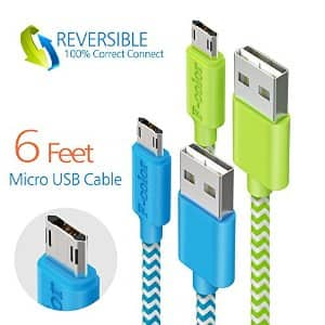 6ft Braided Reversible microUSB Cable-Assorted Colors 2.0A $5.99 and up w/coupon