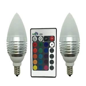 LJY 2-Pack E12 Candelabra 3W RGB LED Light Remote Control Color Changing Candle Lamp Bulbs $11.89 AC Amazon