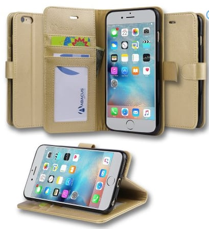 Abacus24-7 iPhone 6 Plus 6S Plus Case, Wallet with Flip Cover, Credit Card Holders & Stand, Gold Walmart $3.99