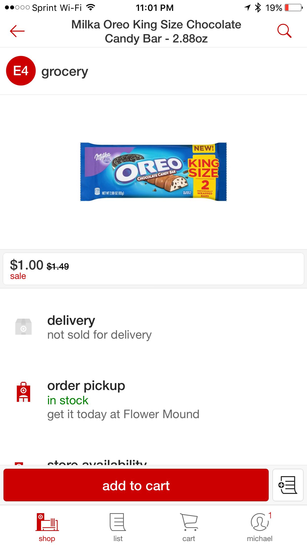 3 Milka Oreo King Size Candy FREE AR @ Target w/ Cartwheel Ibotta Money Maker!!!