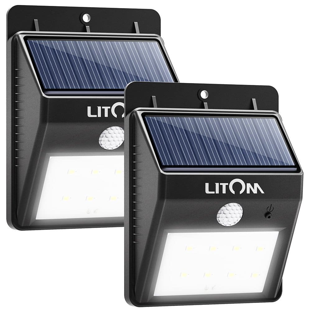 2 Pack Litom Solar Powered Motion Sensor Outdoor LED Lights $11.96 W/Free  Shipping