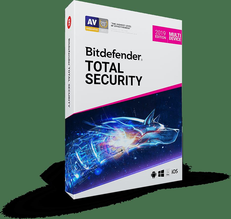 Bit Defender Total Security 2019 1 YR - 5 Devices - Multi Platform Compatible