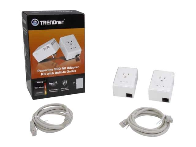 2x TRENDnet TPL-407E2K Powerline 500Mbps Nano Adapters w/ Built-In Outlet $27.99 AC