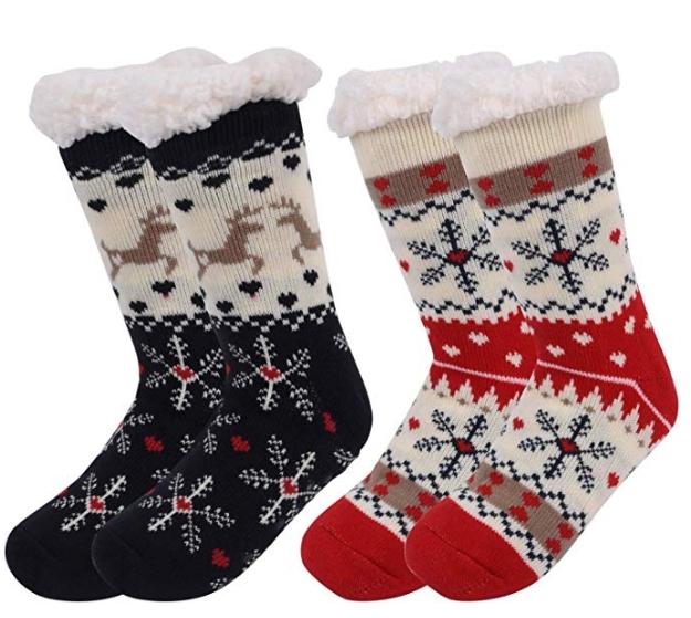 Samshow Women's Slipper Socks Snowflake Fleece Lining Knit Christmas Knee Highs Stockings Socks for $9.74 @Amazon