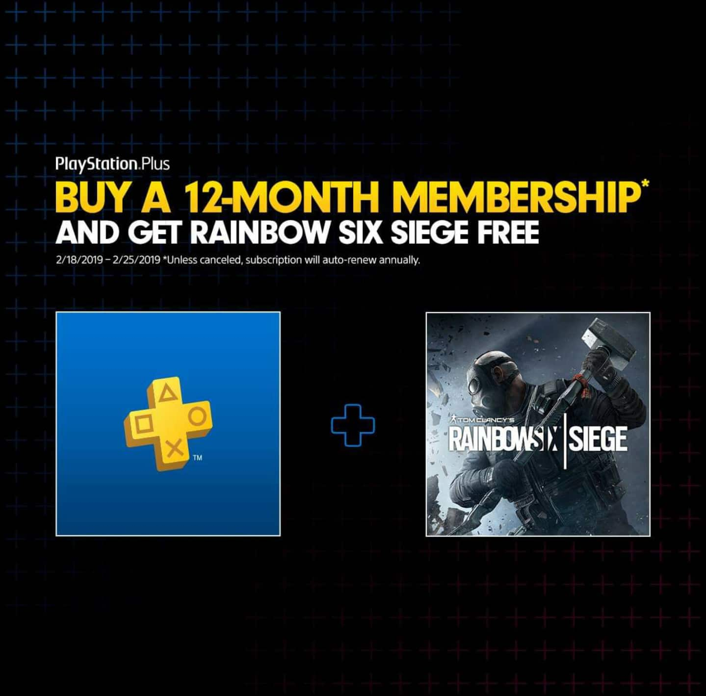 PlayStation Plus 12-Month Membership + Free TOM CLANCY'S