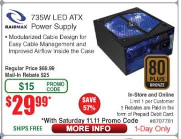 Raidmax 735W LED ATX Power Supply 80 Plus Bronze Certified, MIR, free shipping