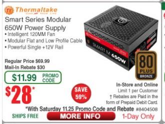 Thermaltake Smart 650w Modula ATX Power Supply 80 Plus Bronze Certified, MIR, $28