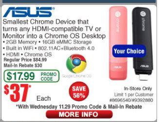 Asus Chromebit-B013C 2GB Memory,16GB eMMC Storage,Chrome OS, 30$ MIR, $36.99