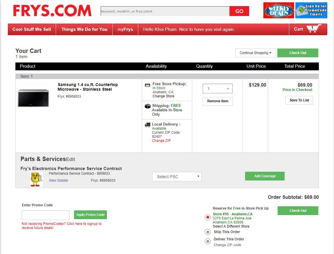 Samsung 1.4 cu.ft. Countertop Microwave - Stainless Steel $69