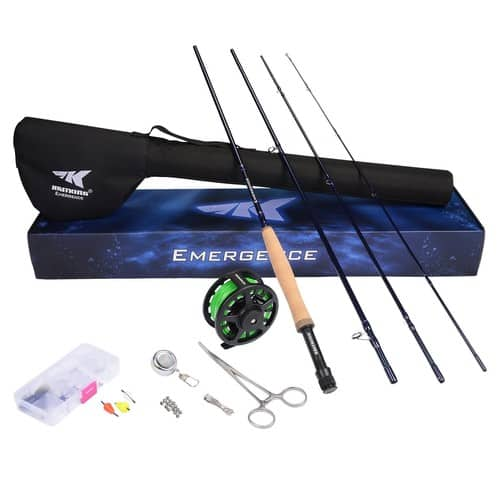 Emergence Fly Fishing Combo - 4 Piece Graphite Fly Fishing Rod, Pre-loaded Aluminum Fly Fishing Reel, Accessories and 12 Popular Flies - with a Protective Travel Case $103.98