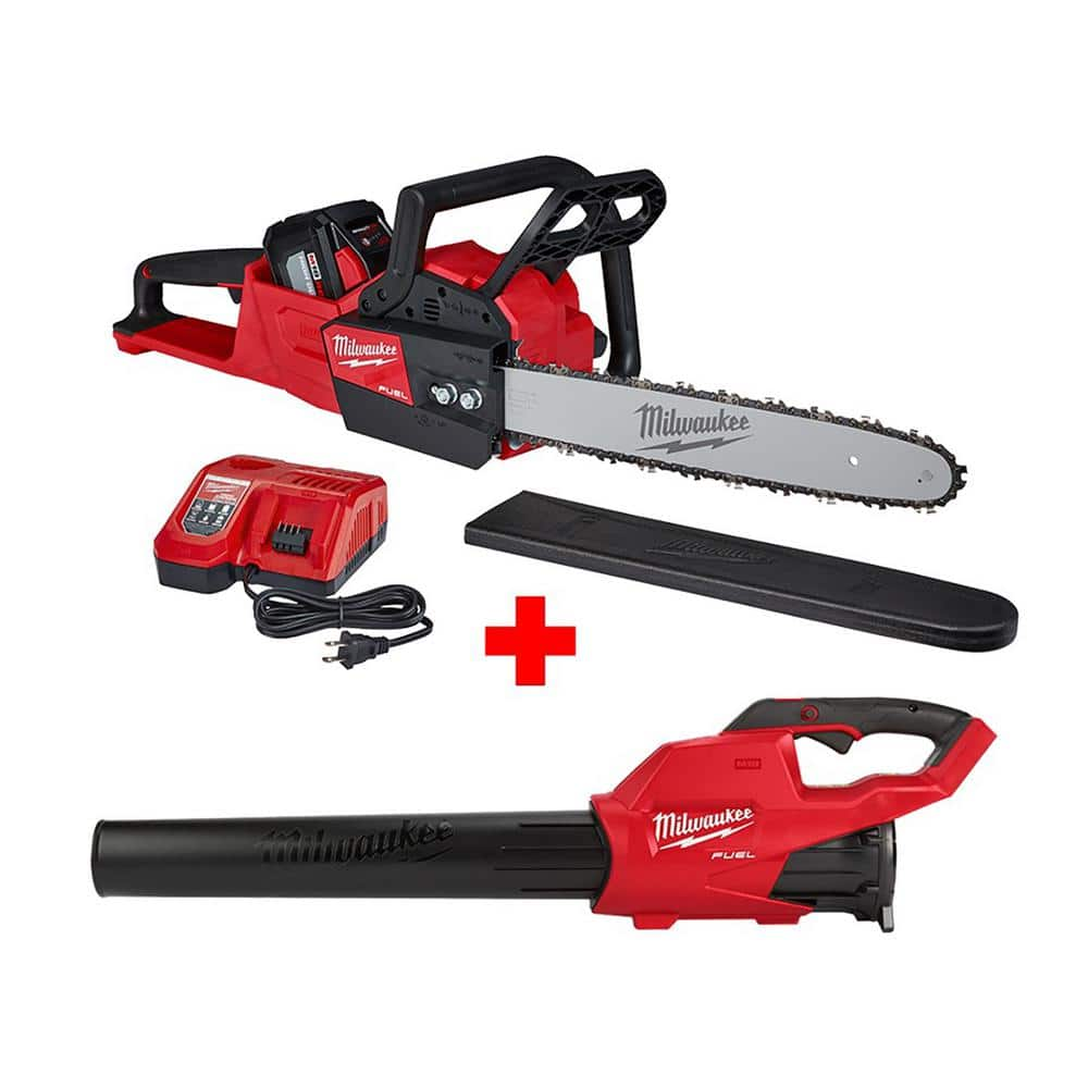 Milwaukee M18 FUEL 16 in. 18-Volt Lithium-Ion Battery Brushless Cordless Chainsaw Kit with M18 GEN II FUEL Blower $399 today online only free shipping