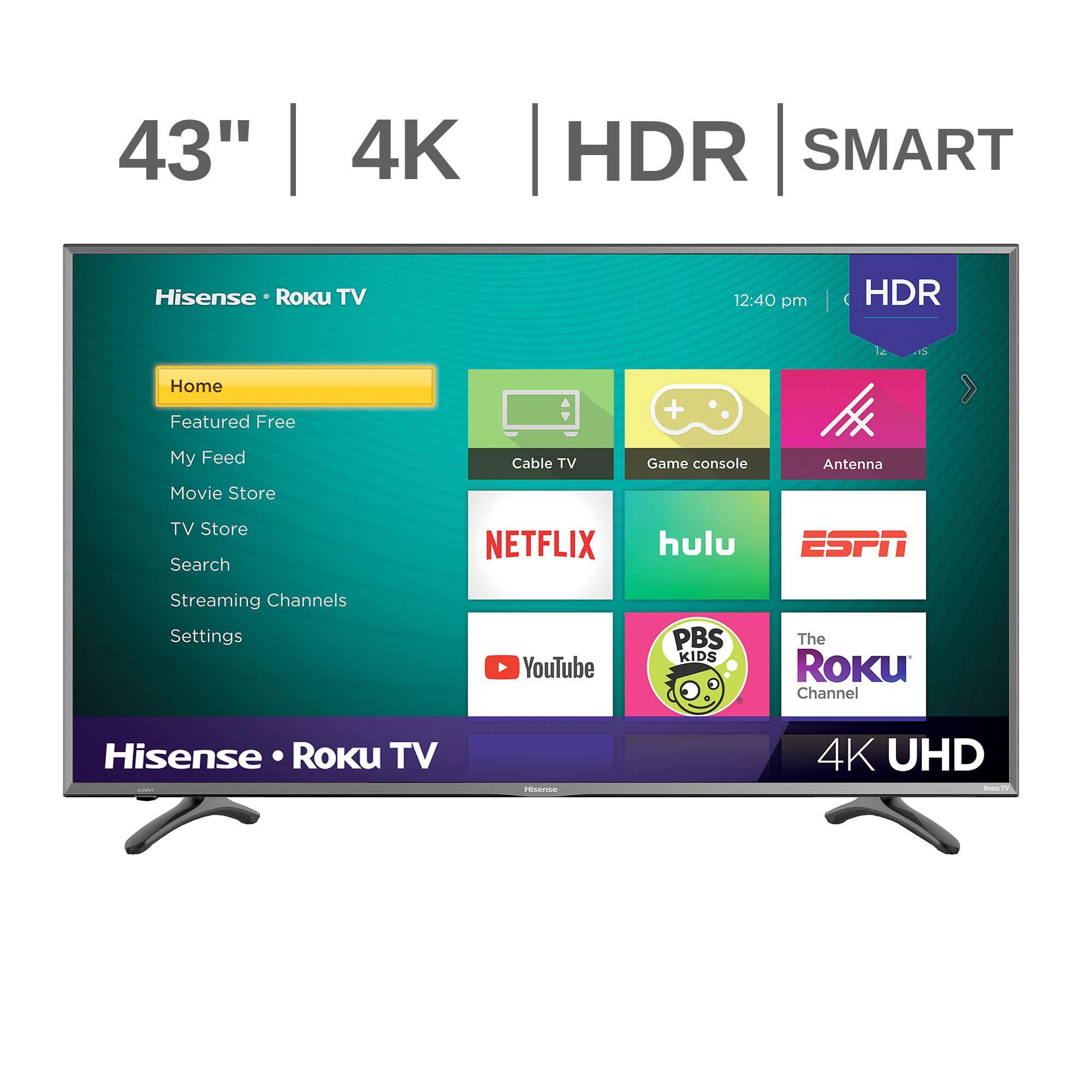 """Hisense 43"""" UHD 4K HDR Roku Smart LED TV (model 43R7050E1) Free Shipping $174.99"""