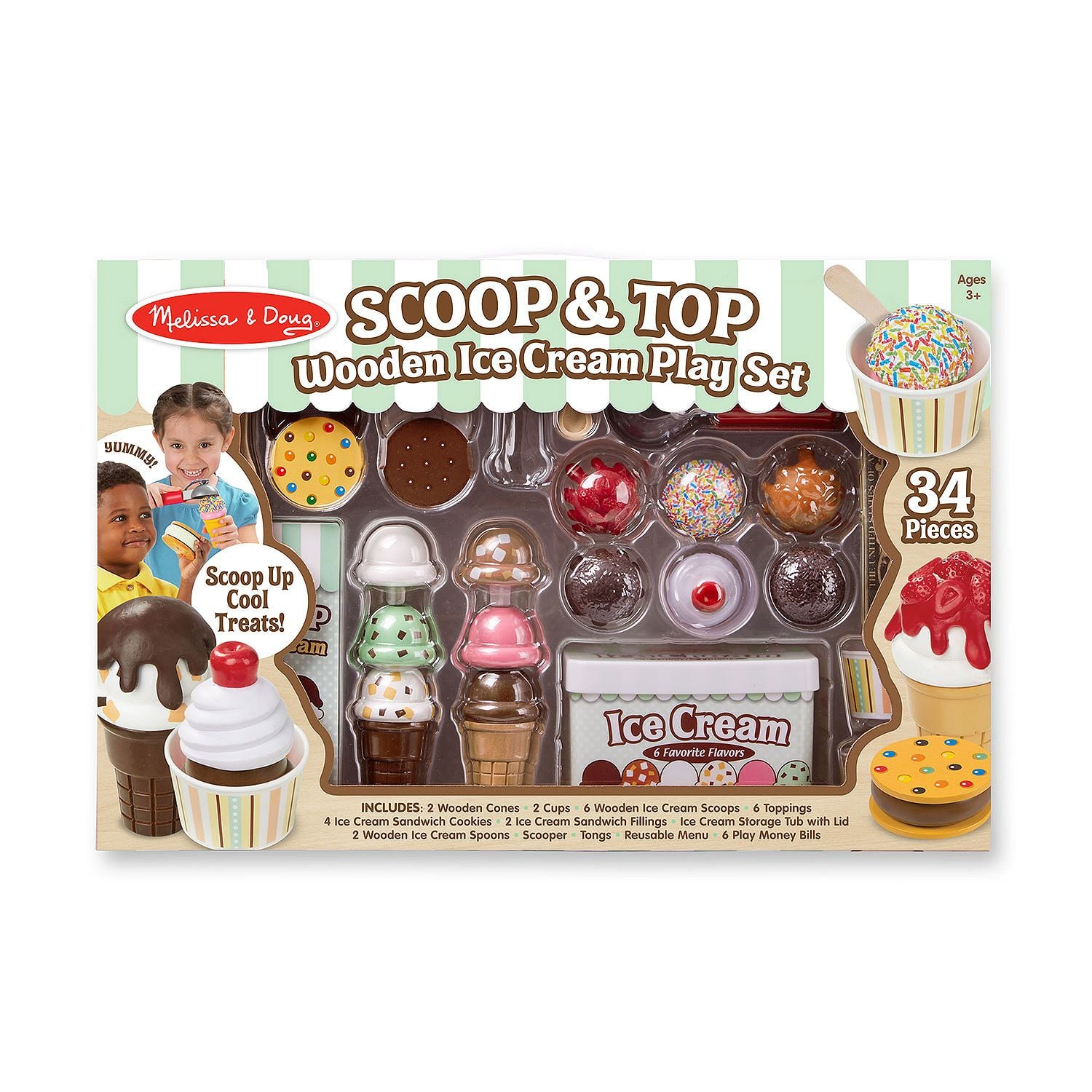 Melissa & Doug 34-piece Scoop & Top Wooden Ice Cream Play Set only $19.99 - Online & B&M