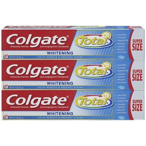 Colgate Total Whitening Toothpaste, Gel - 7.8 ounce (3 Pack) - Amazon.com / S&S  $5.35