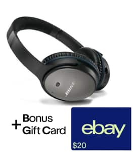 Bose QuietComfort® 25 (Wired) Noise Cancelling® headphones (Factory renewed) + $20 ebay gift card $159.95