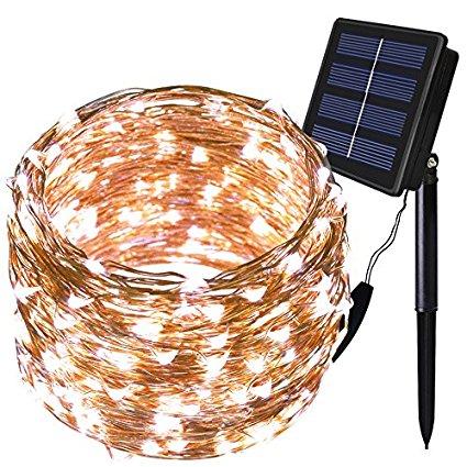 Solarmks Outdoor String Lights 150 LED Fairy Lights ( Solar powered, waterproof)  $5.99