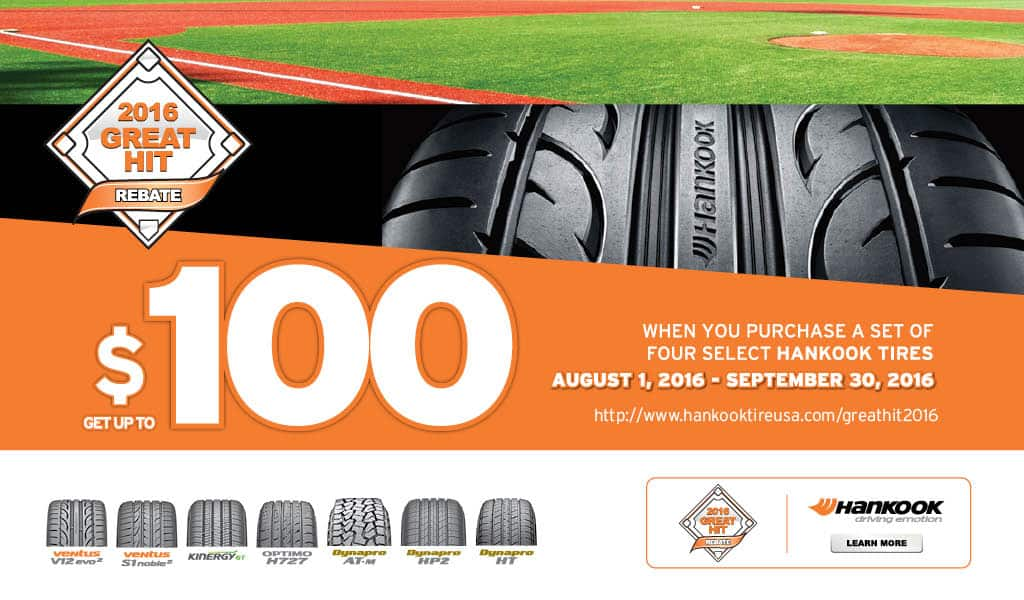 Select Hankook Tires Up to $100 Rebate at Discount Tire, Tire Rack, America's Tires, etc.
