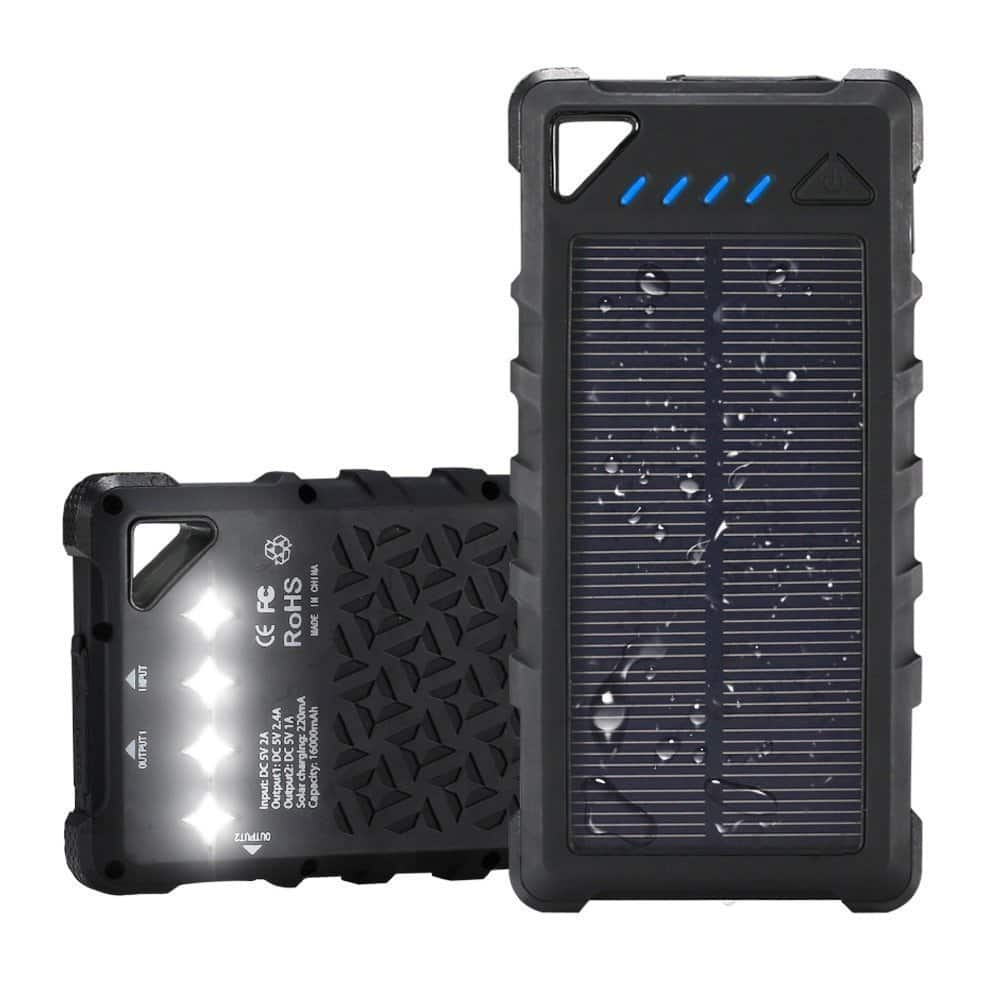 FKANT Waterproof Solar Charger | Portable 16000mAh Dual USB Power Bank | IPX7 Waterproof External Battery Pack with 4LED Flashlight | $29.99 After Code