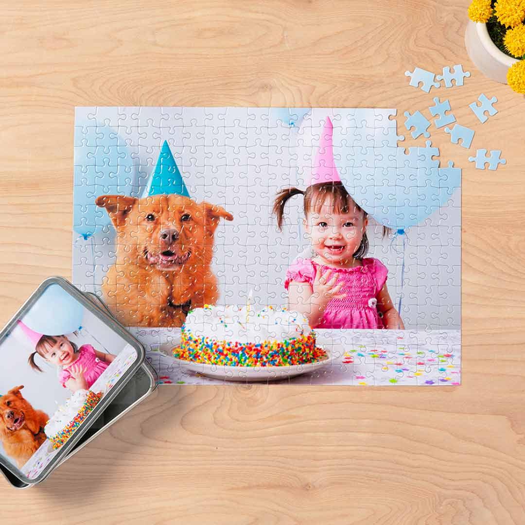 "Walgreens Photo: 252-Piece 10""x14"" Custom Photo Puzzle w/ Storage Tin $10.50 + free store pickup"