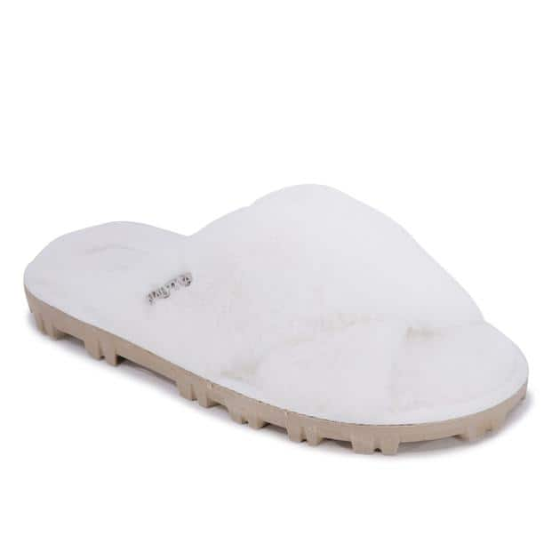 Nautica Women's Faux-Fur Crisscross Slide Sandal Slipper $6, More + Free shipping