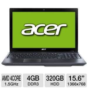 "Acer Aspire AS5560G 15.6"" Laptop - A6-3420M, 4GB, 7670M - $399.97 + $12 Shipping"