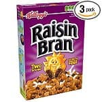 3-pack of 20oz Kellogg's Raisin Bran Cereal $6.50, 3-pack of 12oz Apple Jacks Cereal