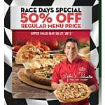 Papa John's Coupon: 50% Off Regular Price Menu Items w/ Online Orders