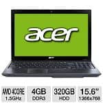 "Acer Aspire AS5560G-7809 Laptop: Quad Core A6-3420M 1.5GHz CPU,15.6"" LED (1366x768), 4GB DDR3, 320GB HDD, AMD Radeon HD 7670M, 6-Cell, Win 7 Home Prem"
