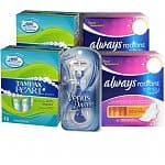 Gillette Venus Divine Razor + 2x 18-Pack Tampax Pearl Tampons (Super) + 2x 12-Pack Always Radiant Infinity Pads with Flexi-Wings (Overnight)