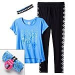 5 Sets of 2-Piece Girls' SO Tee & Yoga Pant Set (sizes 7-16) w/ Headband for $25.95, $5.19 each when you buy 5