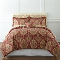 JCPenney Deal: 7-Piece Stafford Red Damask Print Queen Bedding Set (reverses to stripe pattern) $40 + Free Ship to JCP store