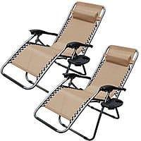 eBay Deal: 2-Pack Zero Gravity Patio Lounge Chairs w/ Utility Tray