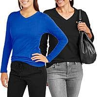 2-Pack Faded Glory Womens' Long Sleeve V-Neck Tee $  5.50 + free Site-to-Store shipping at Walmart