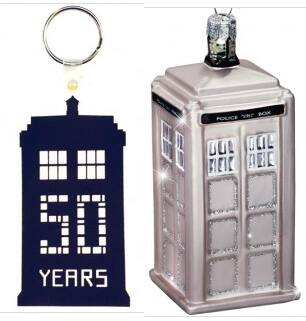Doctor Who 50th Anniversary Keychain + Silver Glass Tardis Ornament  $2 + Free Shipping